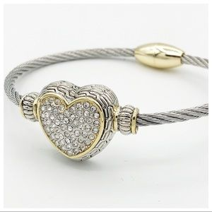 SPARKLE HEART CABLE BRACELET